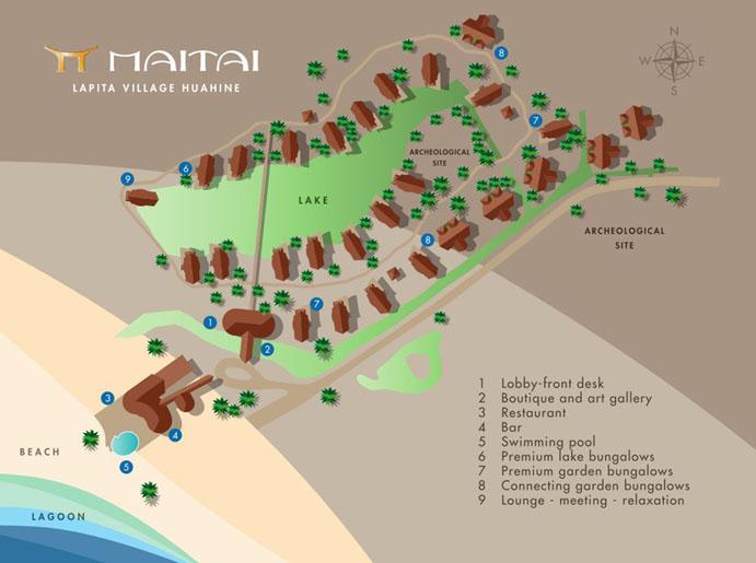 Le Maitai La Pita Village Huahine Resort Layout