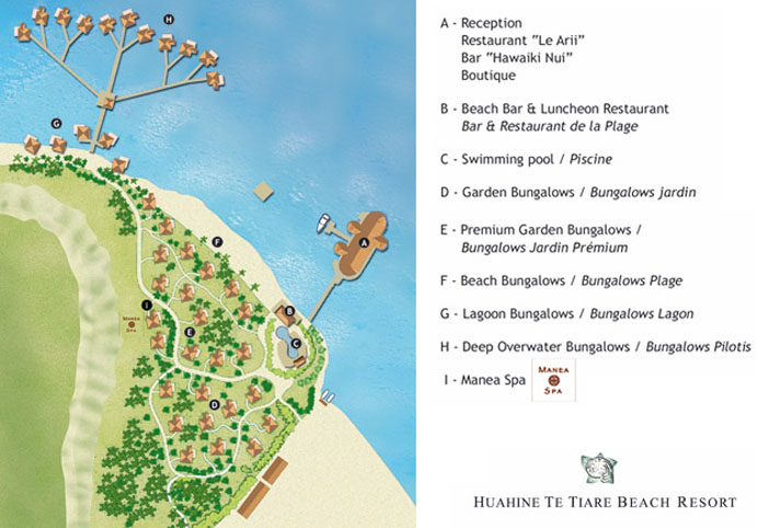Royal Huahine (formerly Te Tiare Beach Resort) Resort Layout