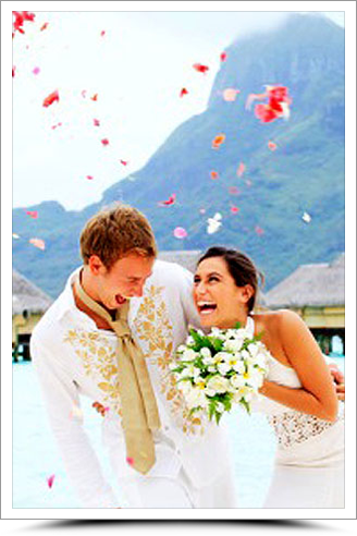 Bride and Groom in Bora Bora
