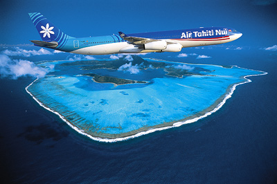 Air Tahiti Nui over Bora Bora
