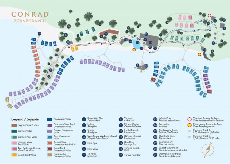 Conrad Bora Bora Resort Layout